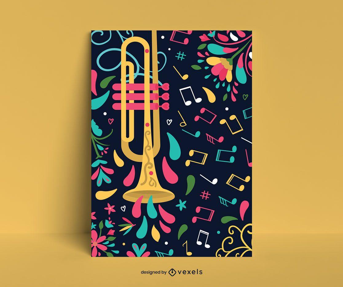 Plantilla de cartel de trompeta colorida