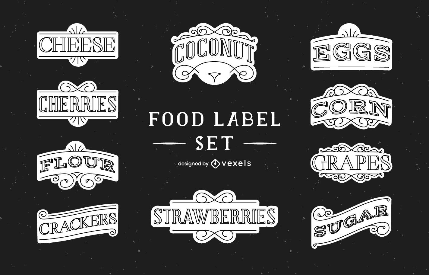 Conjunto de etiquetas de organización alimentaria