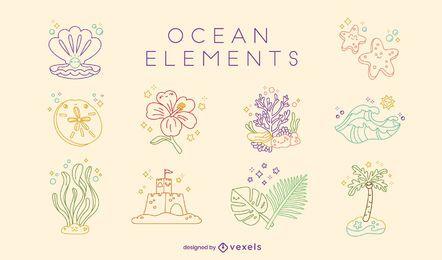 Lindo conjunto de elementos de verano en la playa