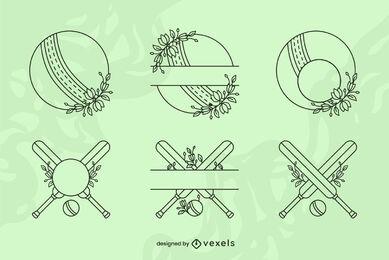 Conjunto de arte de equipamentos esportivos de críquete