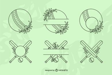 Cricket sport equipment line art set