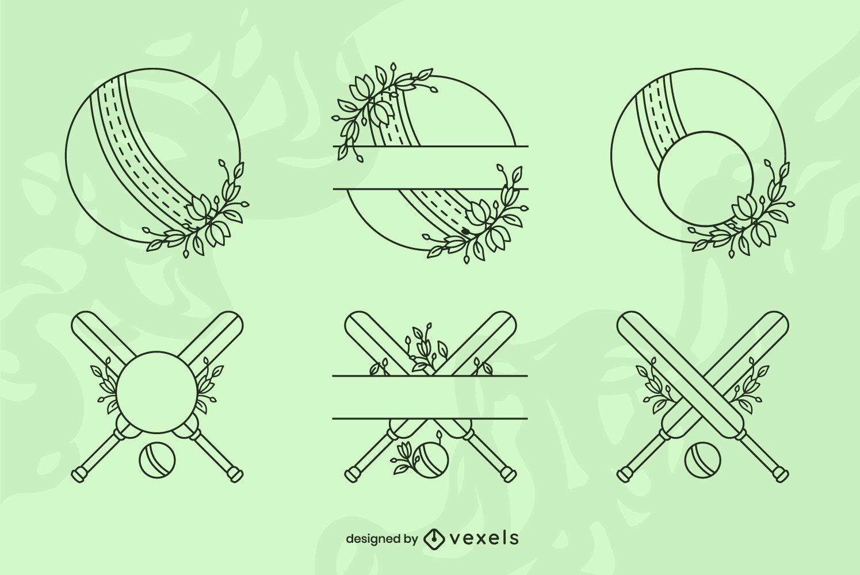 Cricket sport equipment line art set