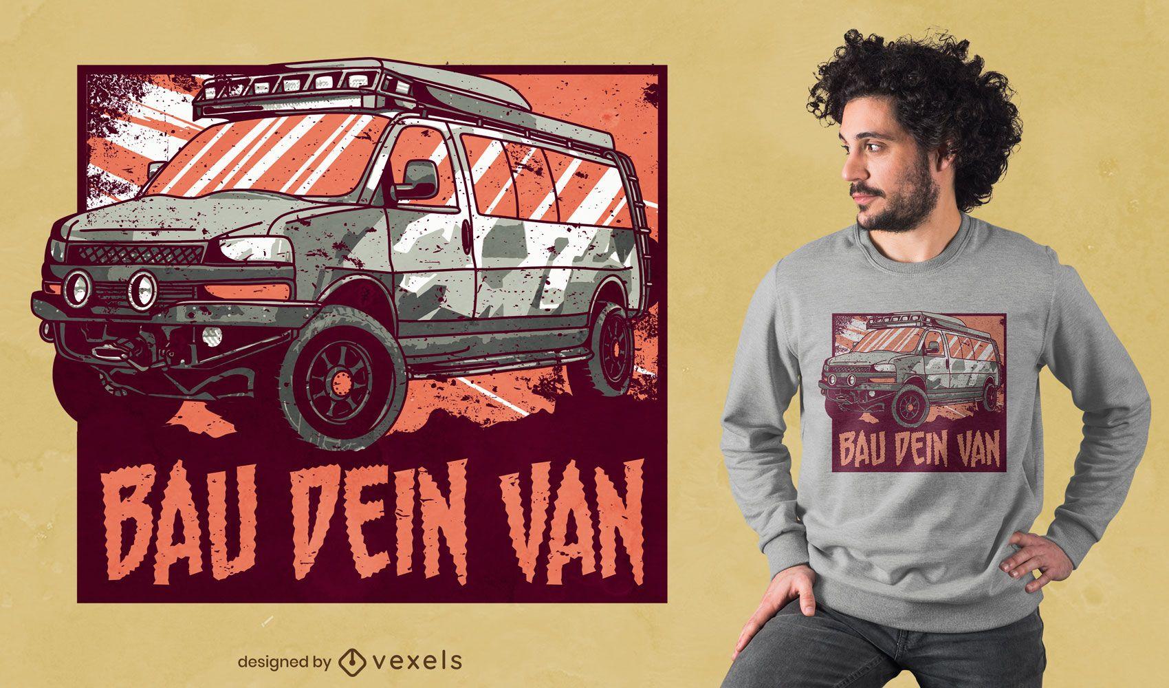 Design de t-shirt com citações de autocaravana