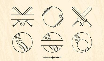Conjunto de elementos de equipamento de esporte de críquete