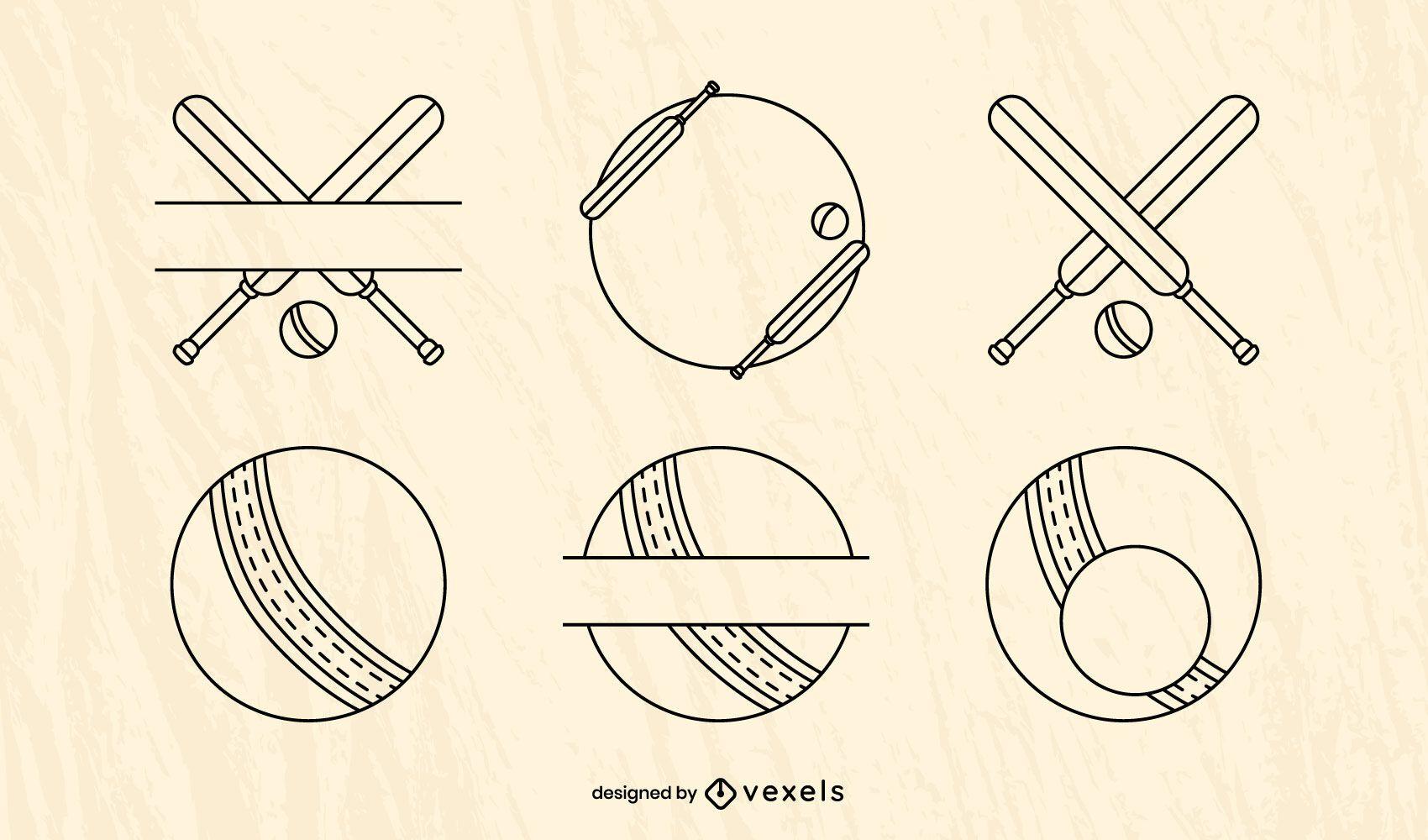 Cricket sport equipment element set
