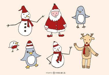 Pacote de gráficos de vetor esboçado temáticos de Natal