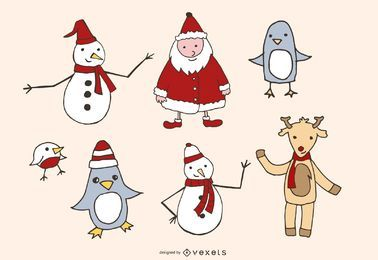 Weihnachts-Themen-Sketchy Vector Graphics Pack