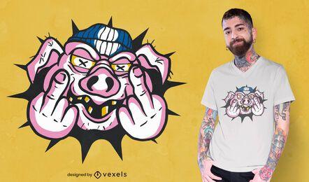 Design de camiseta com dedo médio de porco zangado