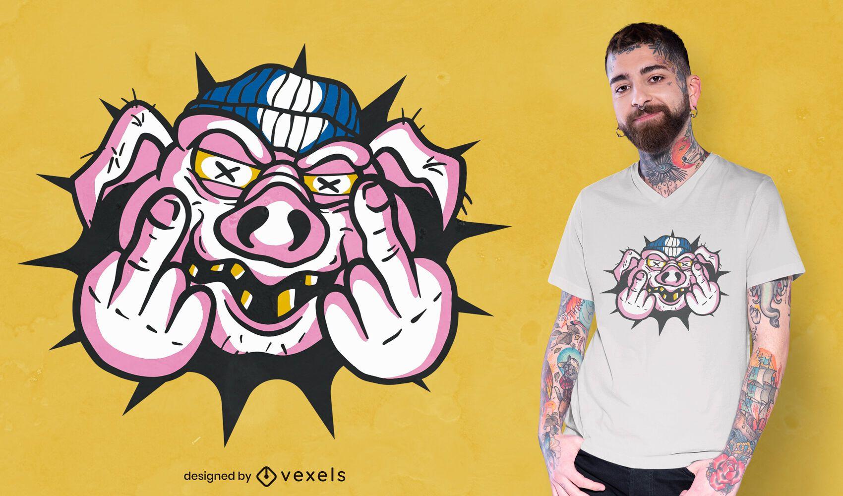Diseño de camiseta de dedo medio de cerdo enojado
