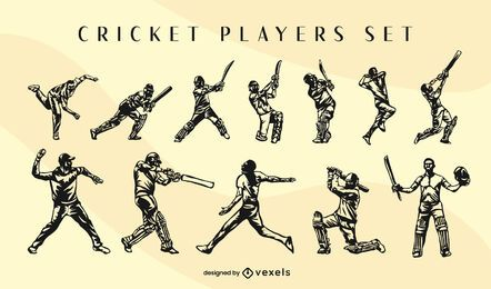 Conjunto de poses de jogadores de esporte de críquete