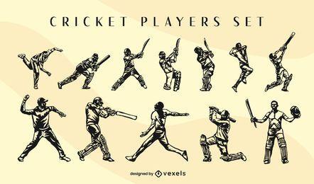 Conjunto de poses de jugadores de deporte de cricket