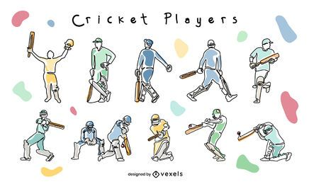 Cricket sport players poses doodle set