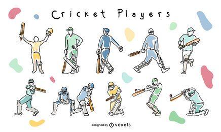 Jugadores de deporte de cricket posan conjunto de doodle