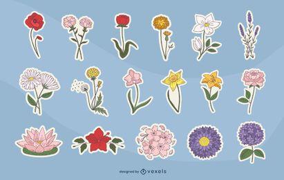 Conjunto de pegatinas de colores de flores de primavera