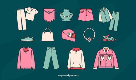 Conjunto de vetores de itens de vestuário