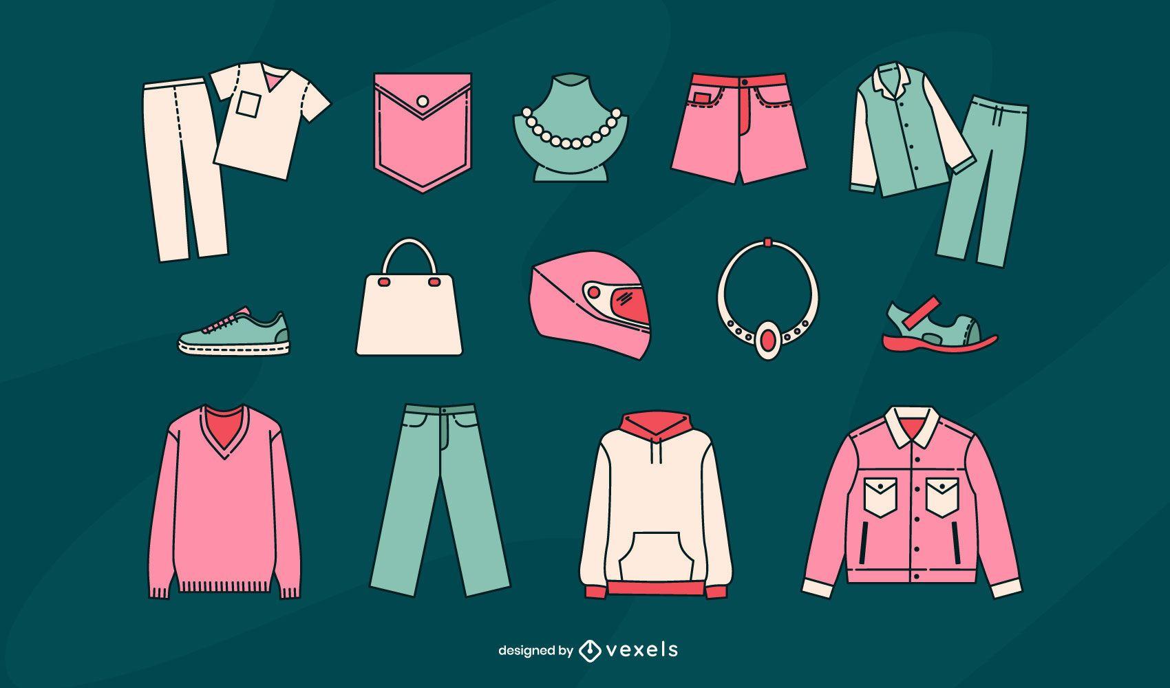 Conjunto de vectores de artículos de ropa