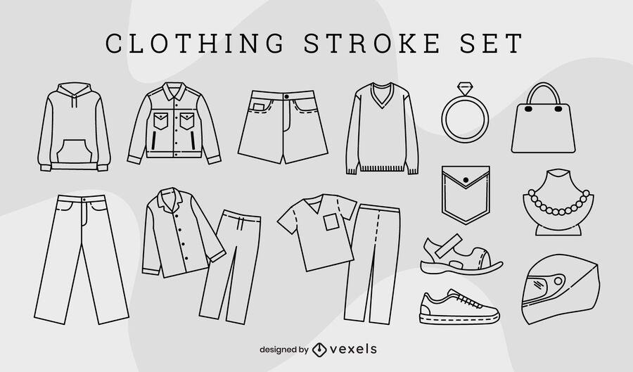 Conjunto de elementos de arte de línea de moda de ropa