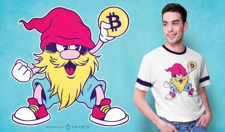 Diseño de camiseta Bitcoin gnome