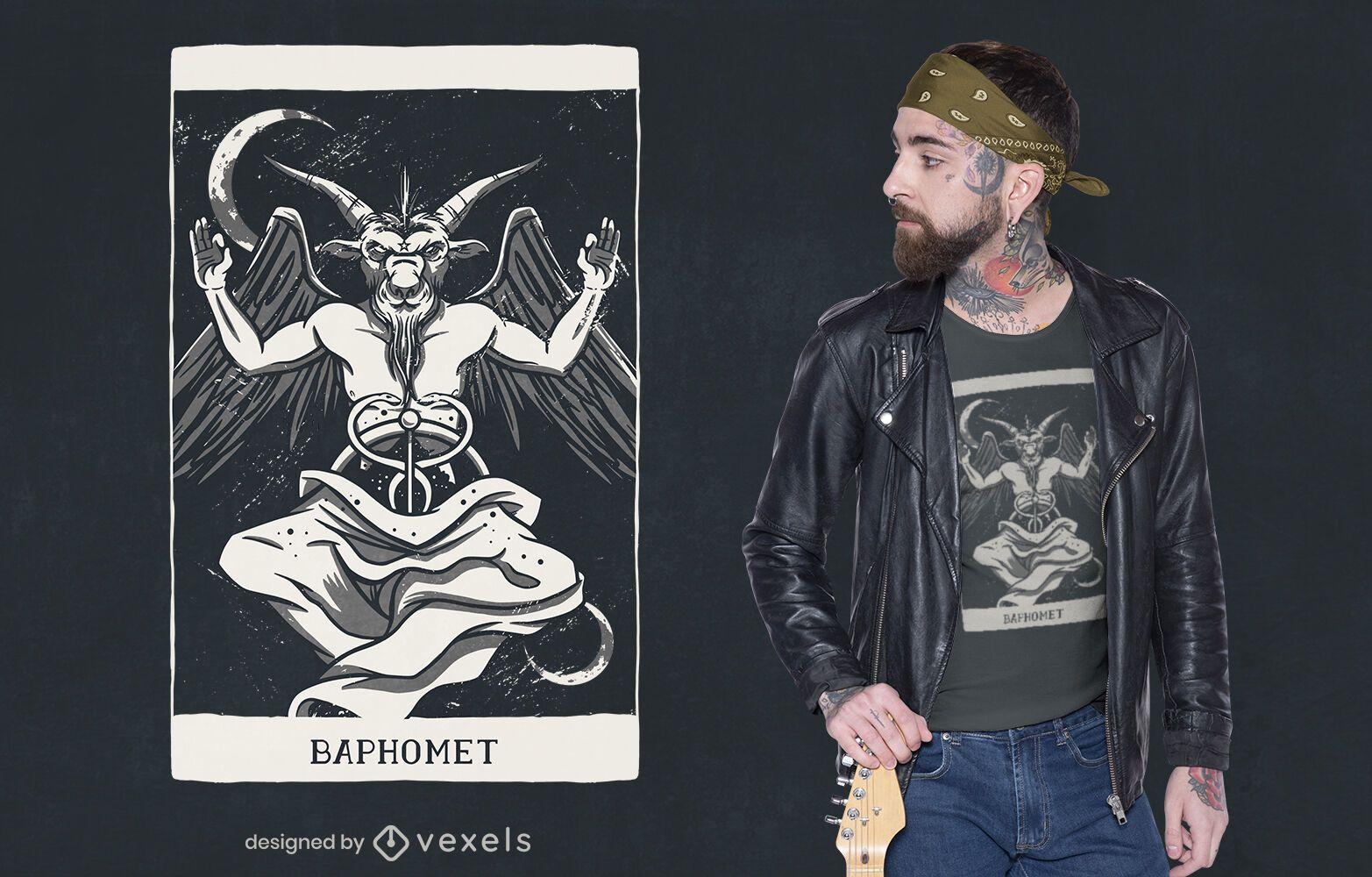 Baphomet demon card t-shirt design