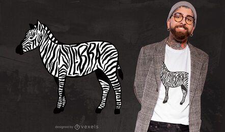 Diseño de camiseta de animal con rayas de cebra.