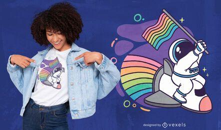Diseño de camiseta de dibujos animados de astronaut pride