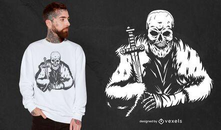 Diseño de camiseta de esqueleto vikingo
