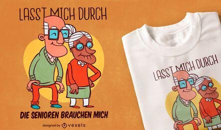 Design de t-shirt com citações de caricatura para cuidador sênior