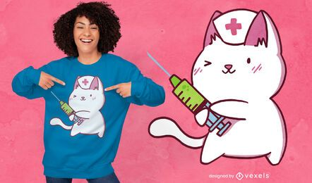 Desenho de t-shirt bonito dos desenhos animados do gato enfermeira