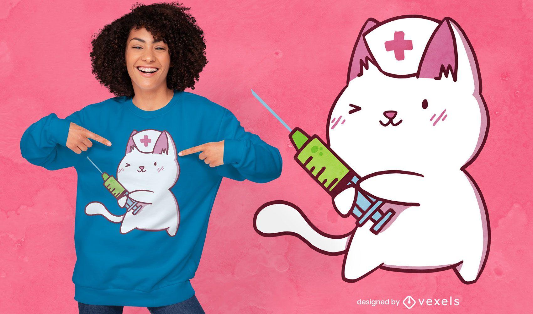 Nurse cat cute cartoon t-shirt design
