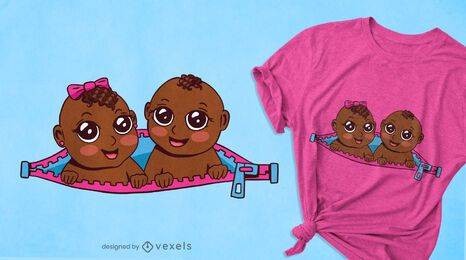 Diseño de camiseta de gemelos bebé.