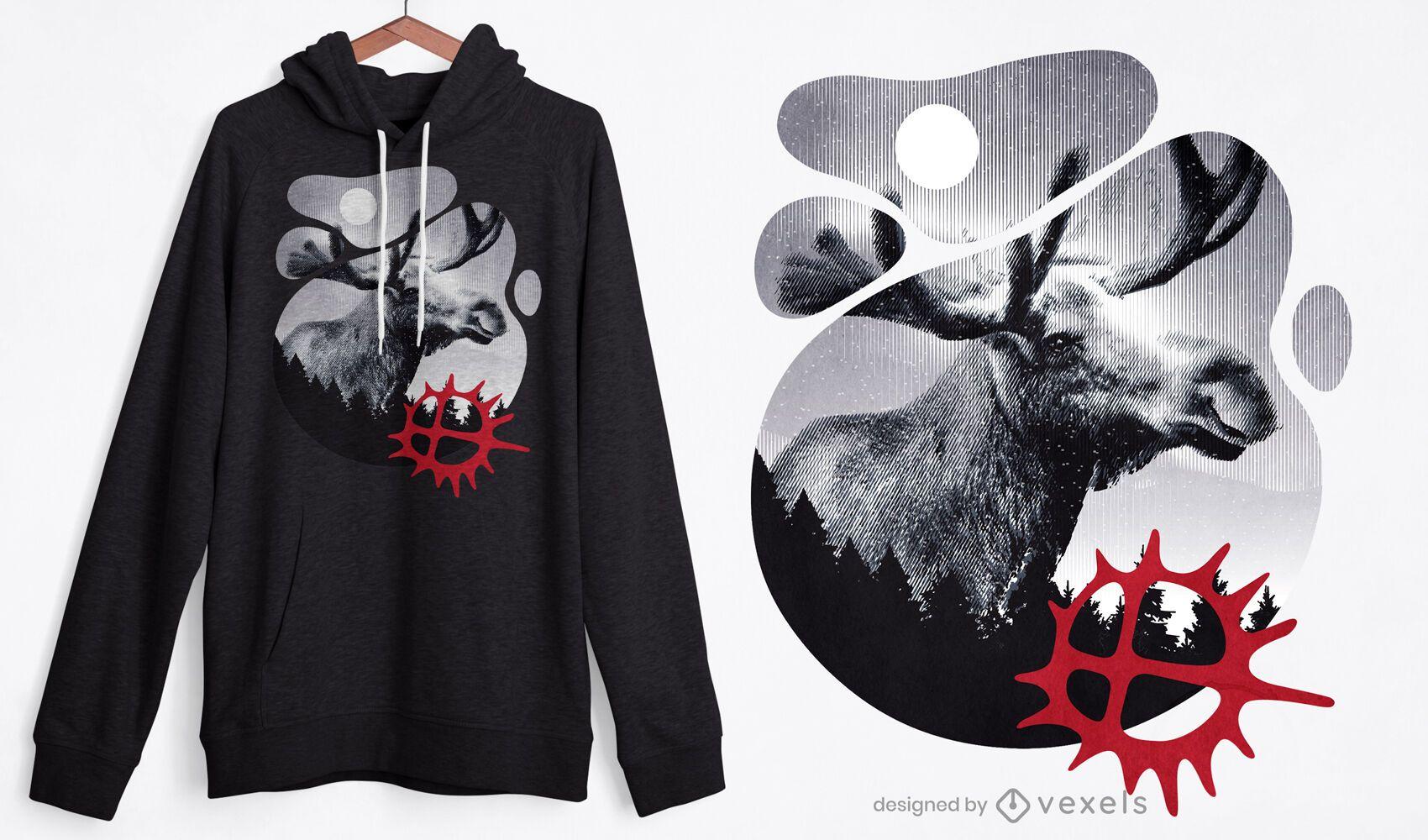 Diseño de camiseta de naturaleza alce.