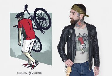 Man carrying bike t-shirt design