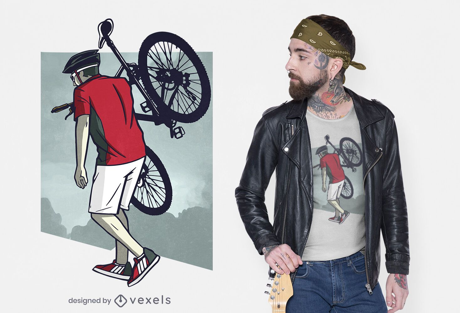 Hombre con diseño de camiseta de bicicleta.