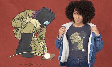 Diseño de camiseta de trabajo de soldador.