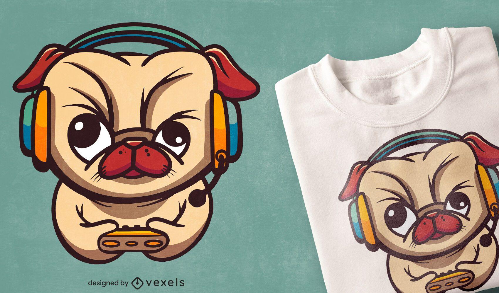 Design de camiseta de pug para jogadores