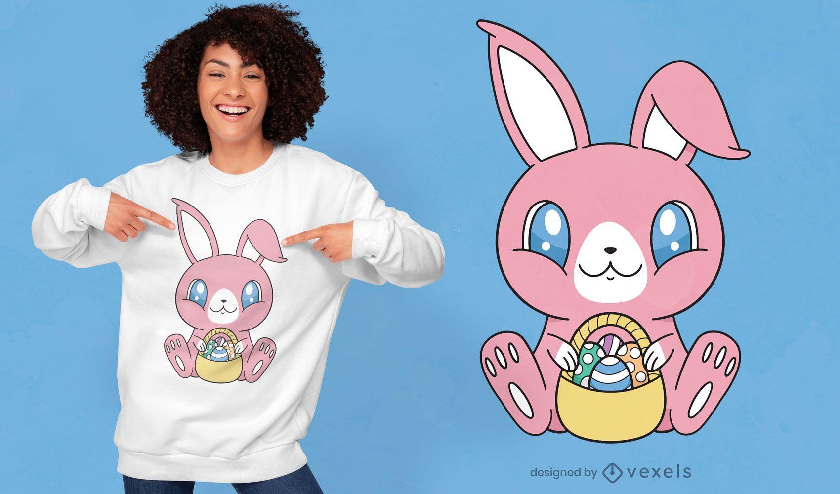 Design fofo de t-shirt de coelho da páscoa