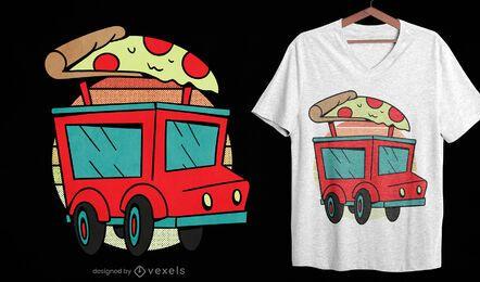 Diseño de camiseta de entrega de pizza.