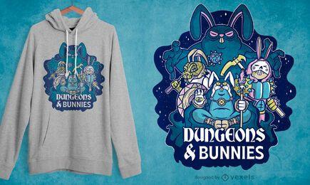 Design de camisetas para calabouços e coelhinhos