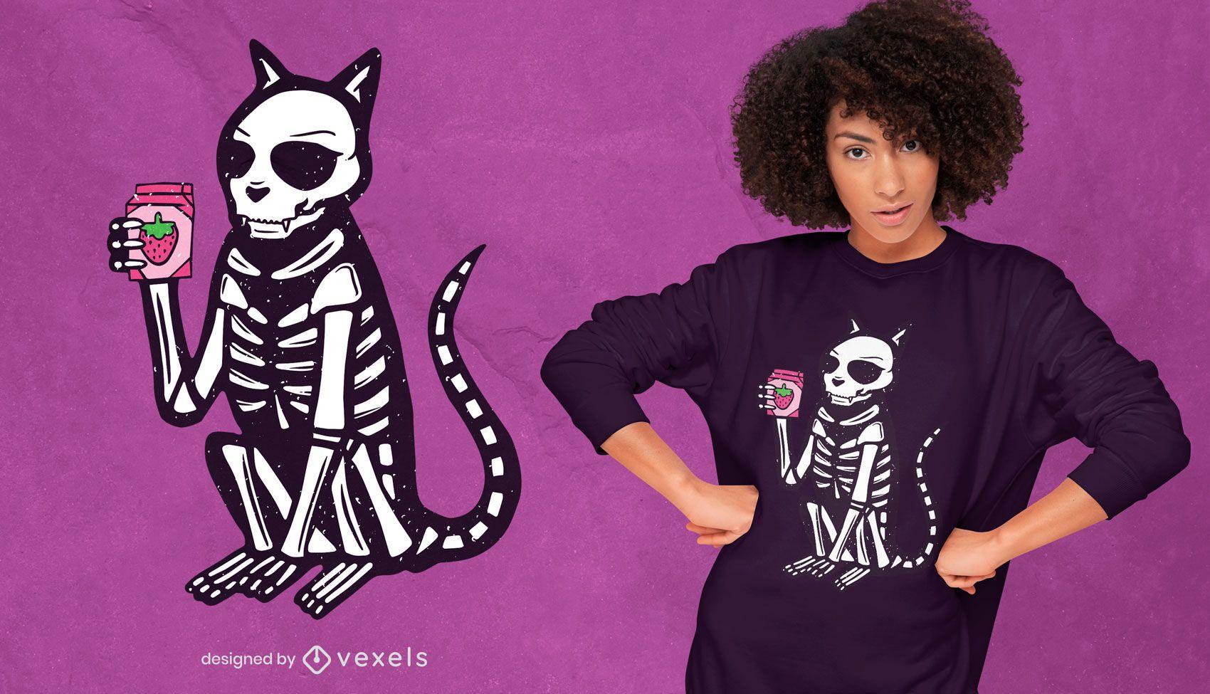 Diseño de camiseta de gato de rayos X