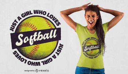 Diseño de camiseta de niña de softbol.
