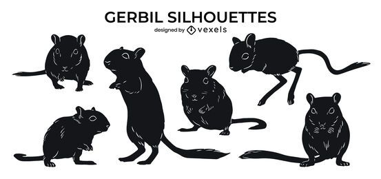Gerbil animal silhouette set