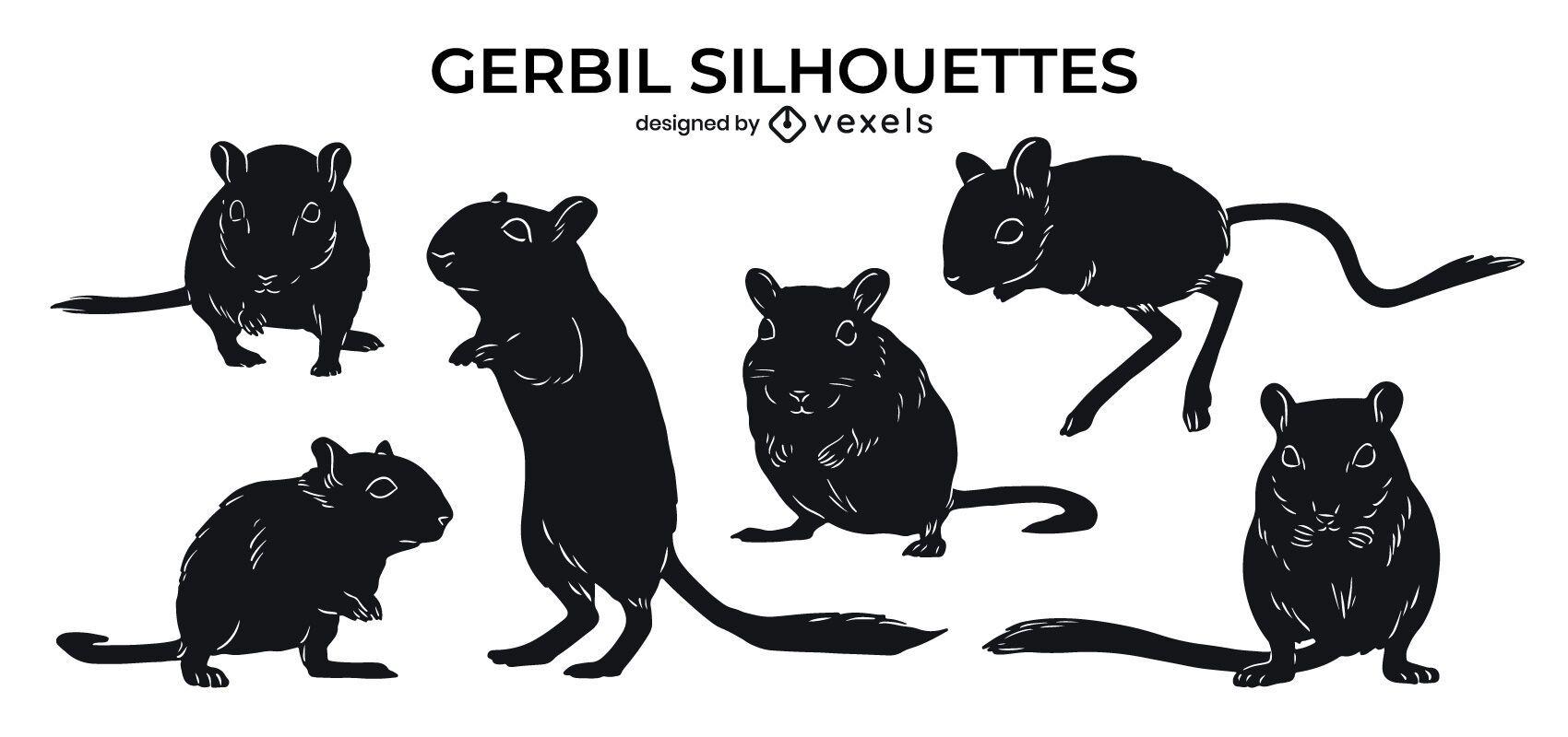 Gerbil animal silhouette set