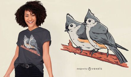 Diseño de camiseta de pájaros en árbol.