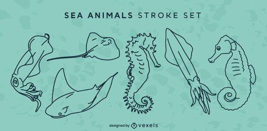 Conjunto de arte de línea de océano de animales marinos