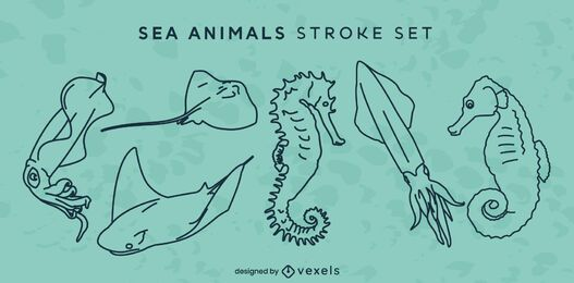 Sea animals ocean line art set