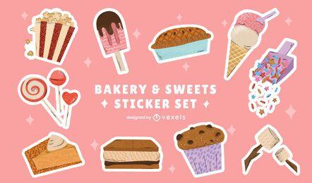 Paquete de pegatinas de postre de panadería dulce