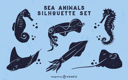 Sea animals ocean cut-out set