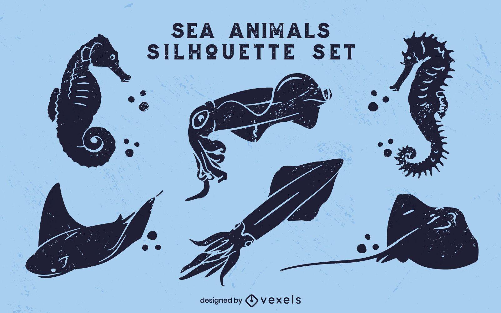 Conjunto de recorte de océano de animales marinos