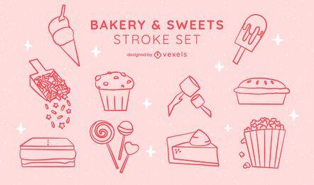 Conjunto de arte de línea de pegatina de postre de panadería dulce