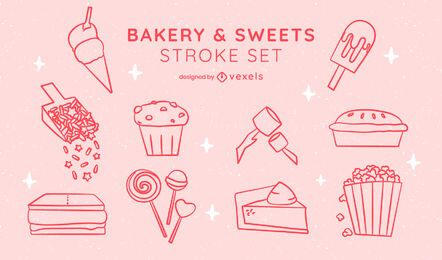 Sweet bakery dessert sticker line art set